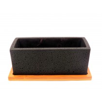 f&g Rectangle cement pot with tray