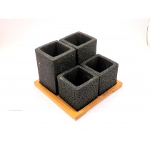 Set of cement pot with tray(4)