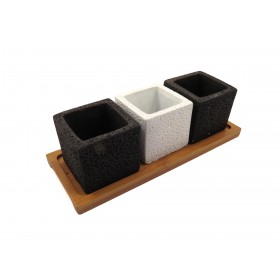 F&G CUBE CEMENT POT WITH TRAY(BLACK,WHITE,BLACK)