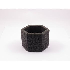 HEXAGONAL CEMENT POT(BLACK,SMALL)