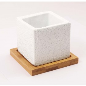 CUBE CEMENT POT(WHITE)(1)WITH TRAY