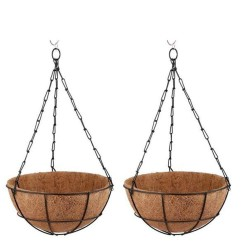 BIO BLOOMS AGRO INDIA PRIVATE LIMITED COIR HANGING BASKET 10 INCHES POT - SET OF 2 PCS, WITH METAL BASKET, CHAIN AND COIR PITH ECO FRIENDLY COIR POT HANGING PLANTERS BIO_41G