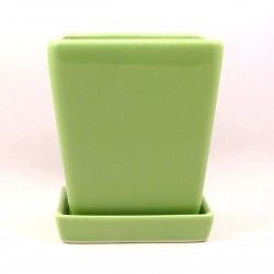 FLOWER POT WITH TRAY(GREEN)