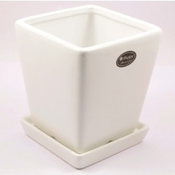 FLOWER POT WITH TRAY(WHITE)
