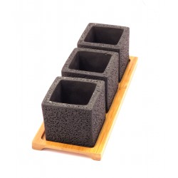 F&G CUBE CEMENT POT WITH TRAY(BLACK)